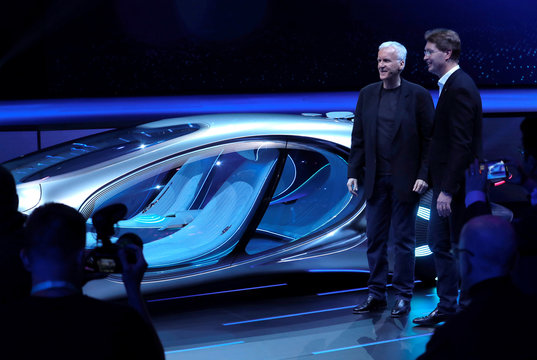 Director James Cameron and Ola Kallenius, chairman of the board of Daimler AG and Mercedes-Benz AG, stand by the Mercedes-Benz Vision AVTR concept car, inspired by the Avatar movies, at a Daimler keynote address during the 2020 CES in Las Vegas