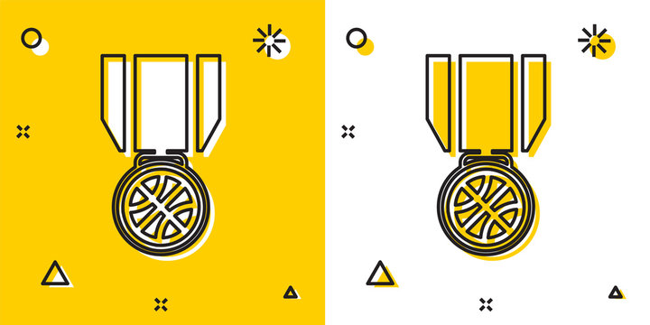 Black Basketball medal with ribbon icon isolated on yellow and white background. Random dynamic shapes. Vector Illustration