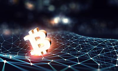 Crypto currency market. Mixed media
