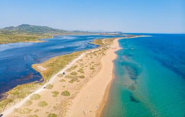Stores à enrouleur Flamingo Aerial drone view of Halikounas Beach and Lake Korission, Corfu island, Ionian Sea, Greece