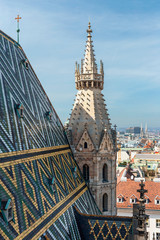 Garden Poster Vienna View of the tiled roof and tower of St. Stephen's Cathedral in Vienna, Austria