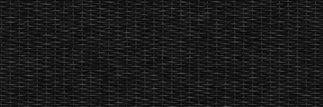 Black basket weave seamless texture, long background, 3d illustration