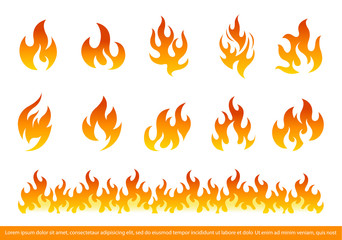 Fire Flames Icon Set Flat Style. Set of red and orange fire flame. Vector illustration