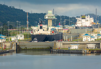 View of the Miraflores Locks, East Lane. Giant locks allow huge ships to pass through the Panama Canal.