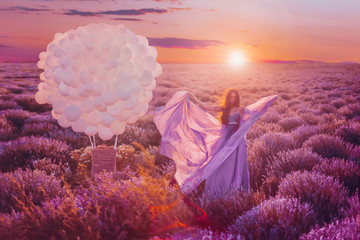 Poster Crimson Beautiful female with balloons in lavender