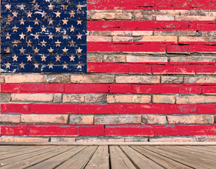 american flag painted on brick wall
