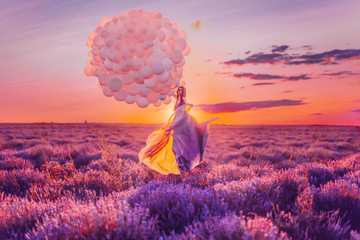 Beautiful female with balloons in lavender