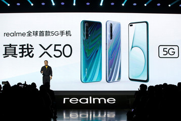 Realme CMO Xu attends a product launch event of Realme X50 5G in Beijing