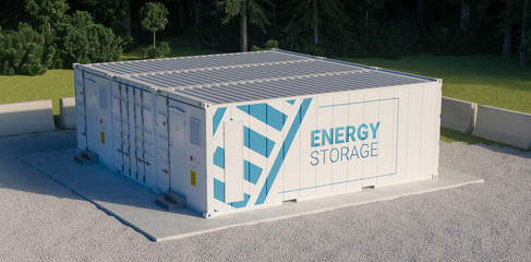 Concept of energy storage unit consisting of multiple conected containers with batteries. 3d rednering.