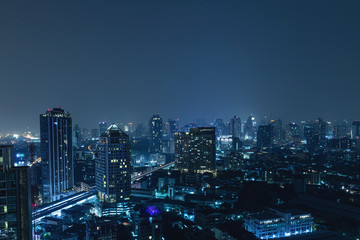 Autocollant pour porte Bangkok Modern Bangkok city at night