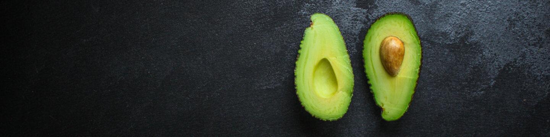 avocado, ripe and tasty fruit (healthy food, vitamins ingredients) menu concept. food background. top view. copy space