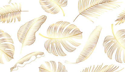 Gold Tropical leaf seamless pattern background, Gold texture with floral and palm leaf vetor.