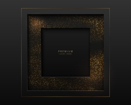 Vector black and gold abstract square luxury frame. Sparkling sequins on black background. Premium label design