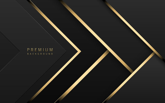 Vector luxury tech background. Stack of black paper material layer with gold stripe. Arrow shape premium wallpaper
