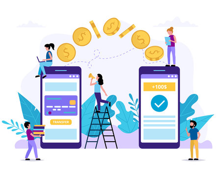 Sending money via smartphone. Payment application. Small people doing various tasks. Concept vector illustration in flat style