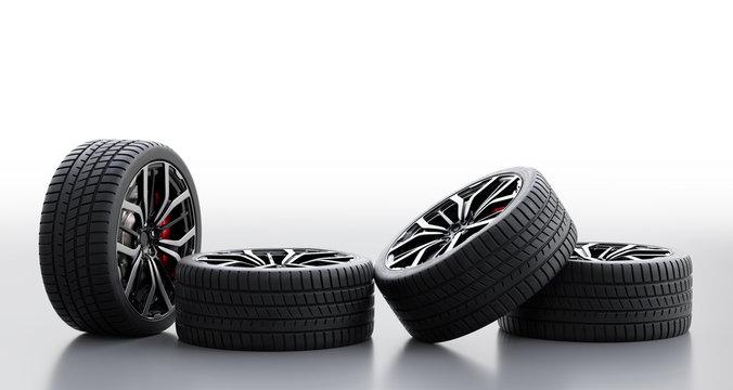 Set of wheels with modern alu rims on white background