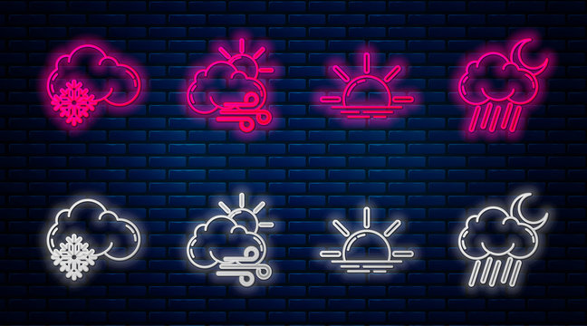Set line Windy weather, Sunrise, Cloud with snow and Cloud with rain and moon. Glowing neon icon on brick wall. Vector