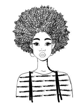 Portrait of a beautiful black woman. Linear drawing of an african american girl with curly hair. Vector illustration isolated on a white background.