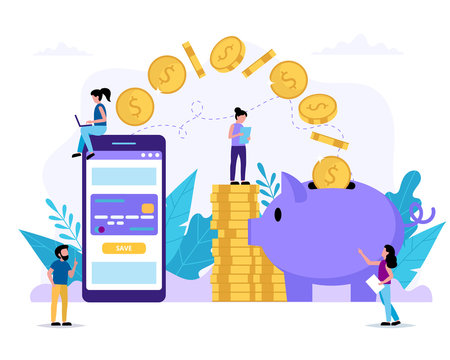 Savings account. Smartphone with application sending money to piggy bank. Small people doing various tasks. Vector illustration in flat style