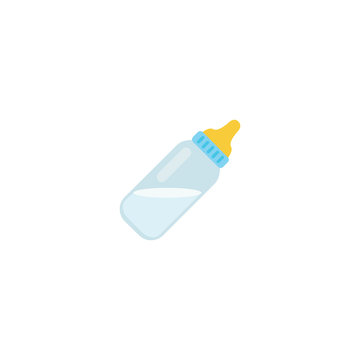 Baby Bottle Flat Vector Icon. Isolated Milk Bottle Emoji Illustration
