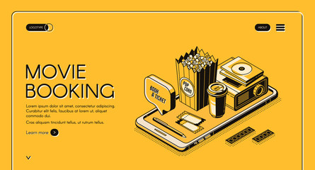 Movie booking isometric landing page, entertainment concept with popcorn, film projector, tickets and coffee cup at smartphone screen on yellow background. 3d vector illustration, line art web banner
