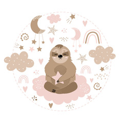 Fotorolgordijn Bestsellers Kids Cute sloth on the cloud