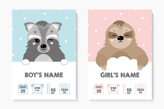 A set of children's posters, height, weight, date of birth. Raccooround. Illustration newborn metric for children bedroom.