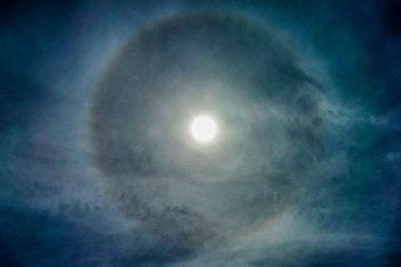 Sun with circular rainbow sun halo occurring due to ice crystals in atmosphere, sun halo background