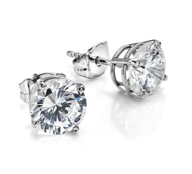 Large Diamond Solitaire Earrings Isolated on White Background