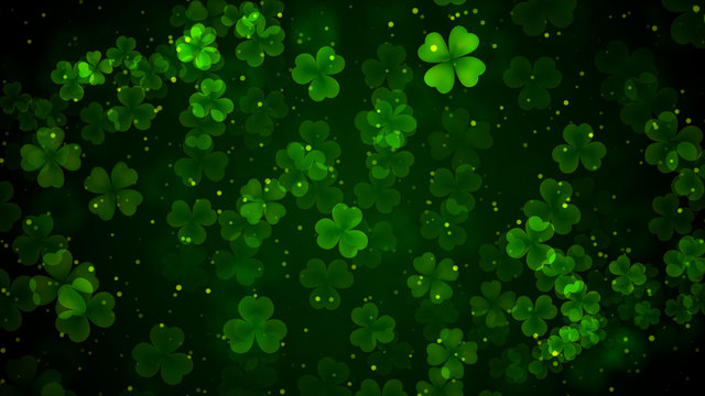 Beautiful Green Leaves Of Three And Four Leaf Clover Bokeh Light With Glitter Dust Background For St Patrick's Day