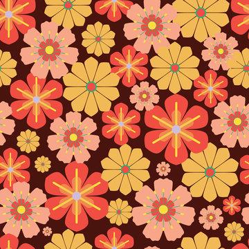 Vector 60s, 70s retro vintage flowers seamless