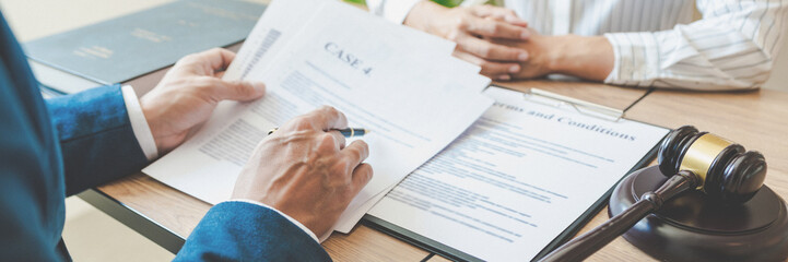 lawyer lawsuit notary consultation or discussing negotiation legal case with document contract...