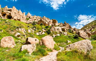 Remains of Zelve Monastery in Cappadocia, Turkey
