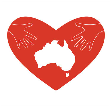 Vector Illustration: helping hands and Australia map silhouette. Support for volunteer, charity or relief work after fires and wildfires in Australia.