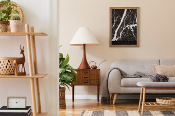 Modern composition of living room interior with brown mock up poster frame, design retro commode,...