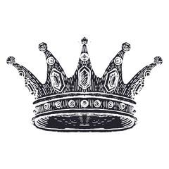 Hand drawn Crown on white. Vintage engraved illustration. Vector