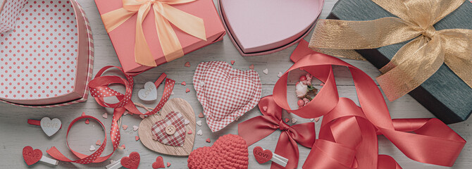 styling of a film photo with muted halftones. concept for valentine's day. background with the attributes of the celebration of Valentine's Day. dominant red color. studio shot, top view.