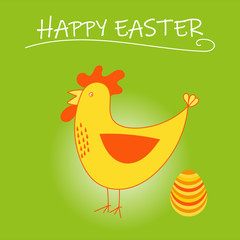 Funny Easter card with yellow chicken and easter egg. Happy Easter card