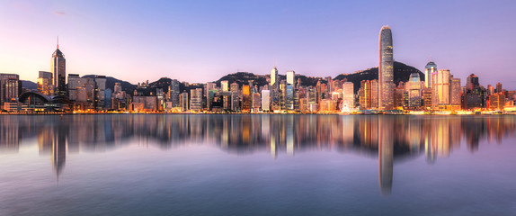 Hong Kong, China skyline across Victoria Harbor