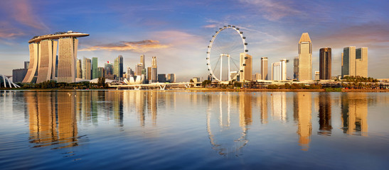 Fotomurales - Singapore skyline panorama at sunrise - Marina bay with skyscrapers