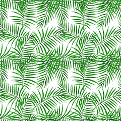 Palm green leaves watercolor seamless pattern.