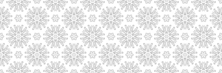 Floral seamless pattern. Gray design on white background
