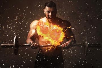Massive screaming bodybuilder with a burning cogwheels inside his torso.