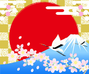桜と鶴のバナー レクタングルサイズ