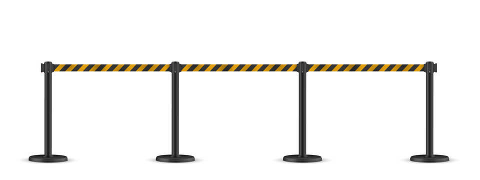 Retractable belt stanchion. Portable ribbon barrier. Striped black-yellow fencing tape.