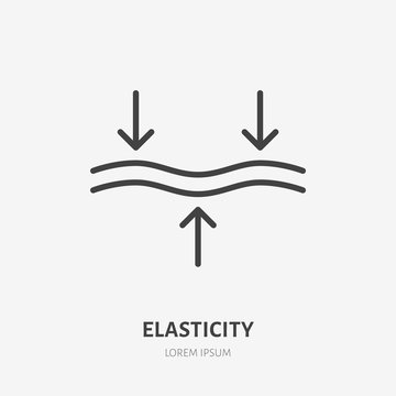 Elasticity line icon, vector pictogram of elastic material. Skincare illustration, anti wrinkle, facelift sign for cosmetics packaging