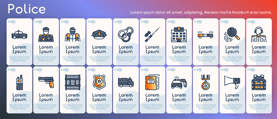 Police color linear vector icons set