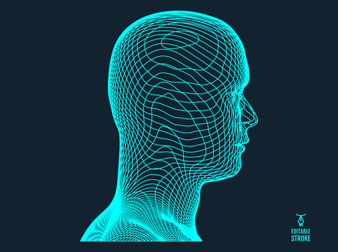 3d human face created in grid style. Artificial intelligence concept. Digital technology background. Vector illustration.
