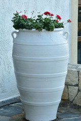 Garden decorations with flowers in pots and flower beds, terraces, balconies and pappers and stairs.