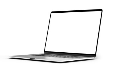 Laptop mockup template blank screen isolated all in focus